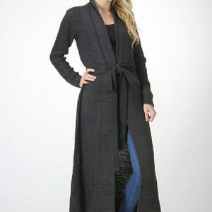 Charcoal Gray Long Length Sweater Robe Cardigan